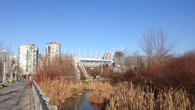 A frosty Hinge Park, South East False Creek.