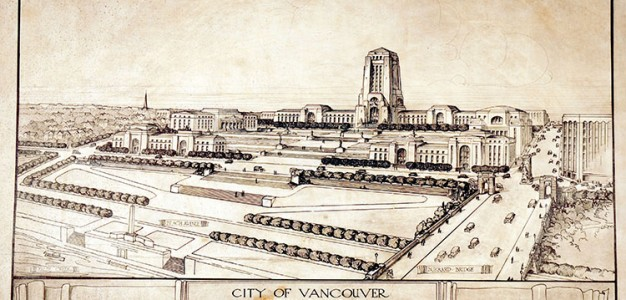 A proposed civic centre for Vancouver (part of the Bartholomew Plan, 1928).
