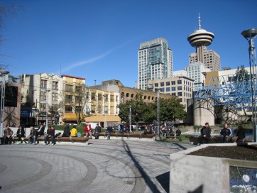 Cathedral Square, the site of Vancouver's first underground substation