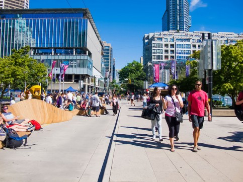 Robson Square, Vancouver: streets transformed into a plaza. Photo: Shinsuke Ikegame on Flickr.