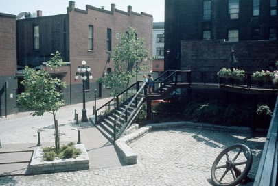 Blood Alley, in Gastown, shortly after it was redesigned in 1975 (CoV Archives: CVA 780-668)