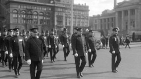 200109 - CVA 99-1282 - Police marching along Georgia Street West - Chief Anderson leading - 1924