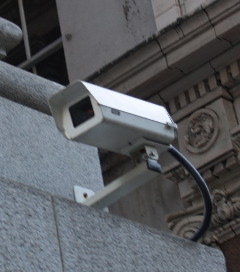 Surveillance camera mounted outside Granville Street store.