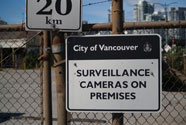 Photo of a warning sign from the City of Vancouver that the premises are under video surveillance.